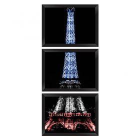 Conjunto Quadros Decorativos com Moldura e Vidro Torre Eiffel França