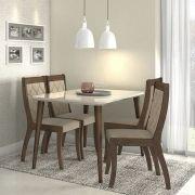 Conjunto Sala de Jantar Ballet com mesa 120 cm e 04 cadeiras em MDF Retrô Lopas