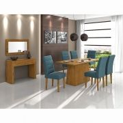Conjunto Sala de Jantar com Mesa Nevada e 06 cadeiras Fiorella em MDF Lopas