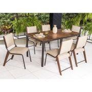 Conjunto Sala de Jantar Gardência Mesa em madeira 160 cm Café e 06 cadeiras Modelo 822