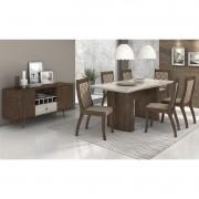 Conjunto Sala de Jantar Merengue Mesa 180 cm e 06 cadeiras Merengue e Buffet Retrô Lopas
