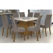 Conjunto Sala de Jantar Mesa Nevada 130 cm 08 Cadeiras Carmini Lopas