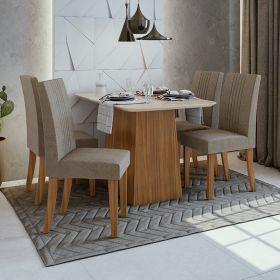 Conjunto Sala De Jantar Mesa Nevada 120 Cm 04 Cadeiras Rock Lopas