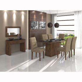Conjunto Sala de Jantar Mesa Nevada com vidro e 06 cadeiras Fiorella em MDF Lopas