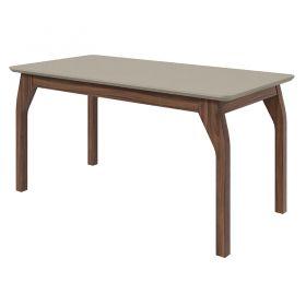 Conjunto Sala de Jantar Mesa Saara 160 cm Canto Copo 06 Cadeiras Saara Linho Gris Lopas