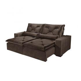 Sofá Reclinável e Retrátil com Almofadas Pirulito 270 cm 6012 Lufer