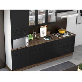 Cozinha Itatiaia Exclusive 5 peças 3V com balcão para cooktop 5b Preto Matte.