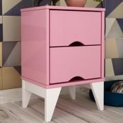 Criado Twister 2 gavetas - Quartzo Rosa/Branco