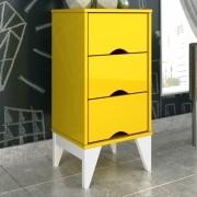 Criado Twister 3 gavetas - Amarelo/Branco