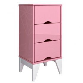 Criado Twister 3 gavetas - Quartzo Rosa/Branco