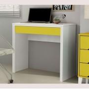 Escrivaninha Twister 01 gaveta - Neve/Amarelo
