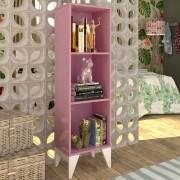 Estante Livreiro com 3 nichos Twister - Quartzo Rosa