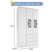 Guarda-Roupa Infantil 03 portas Delicato Branco