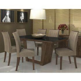 Mesa de Jantar Apogeu 180 cm Imbuia/Off White/Preto