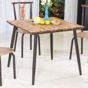 Mesa de jantar Calcário com tampo em Madeira 90x90 cm Café Modelo 470