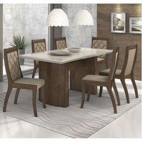 Mesa de Jantar Merengue 180 cm Imbuia Soft/Off White