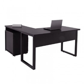 Mesa para escritório em L 137 x 140 cm 04 gavetas com Pés em aço Safira
