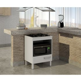 Mini cozinha com mesa, bancos e balcão cooktop Decari 12