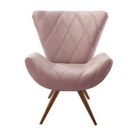 Poltrona Decorativa Tai - Veludo Rosa Seco