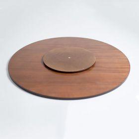 Prato Giratório de Mesa com Lâmina de Madeira Castanho 80 cm