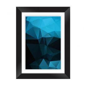 Quadro Decorativo com Moldura em Madeira Maciça e Vidro Geométrico Blue AB015