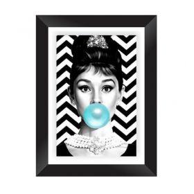 Quadro Decorativo com Moldura em Madeira Maciça e Vidro Geométrico Audrey Hepburn A013