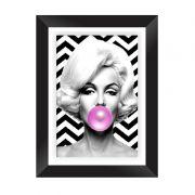 Quadro Decorativo com Moldura em Madeira Maciça e Vidro Geométrico Marilyn Monroe A009