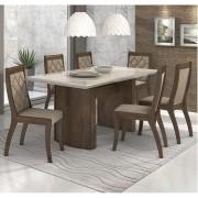 Sala de Jantar Merengue Mesa 180 cm com Tampo de Vidro e 06 Cadeiras  Merengue Lopas