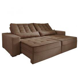 Sofá Reclinável e Retrátil com Almofadas Pirulito 250 cm 6004 Lufer