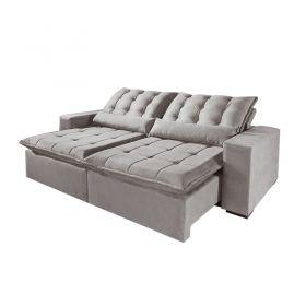 Sofá Reclinável e Retrátil com Almofadas Pirulito 270 cm 6002 Lufer