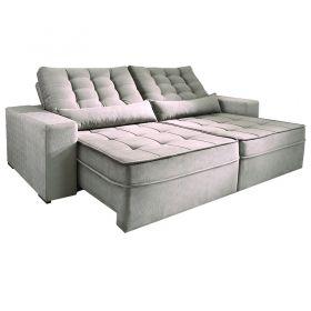 Sofá Reclinável e Retrátil com Almofadas Pirulito 270 cm 6004 Lufer