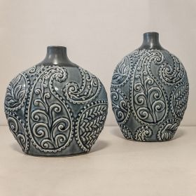 Vaso Decorativo Folhagem Médio em Cerâmica Azul