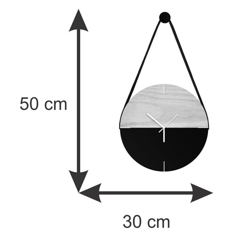 Relógio De Parede Minimalista Adnet Com Alça E Pendurador - 1/2 Branco