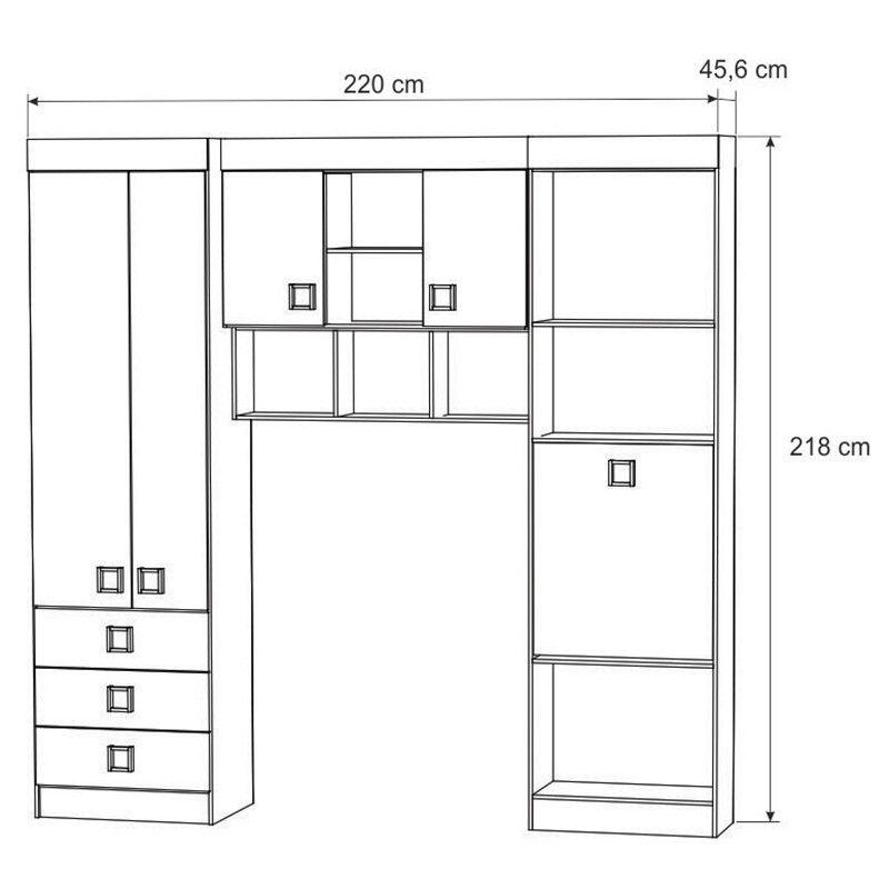 Quarto de solteiro modulado completo Palmeira Buri 02