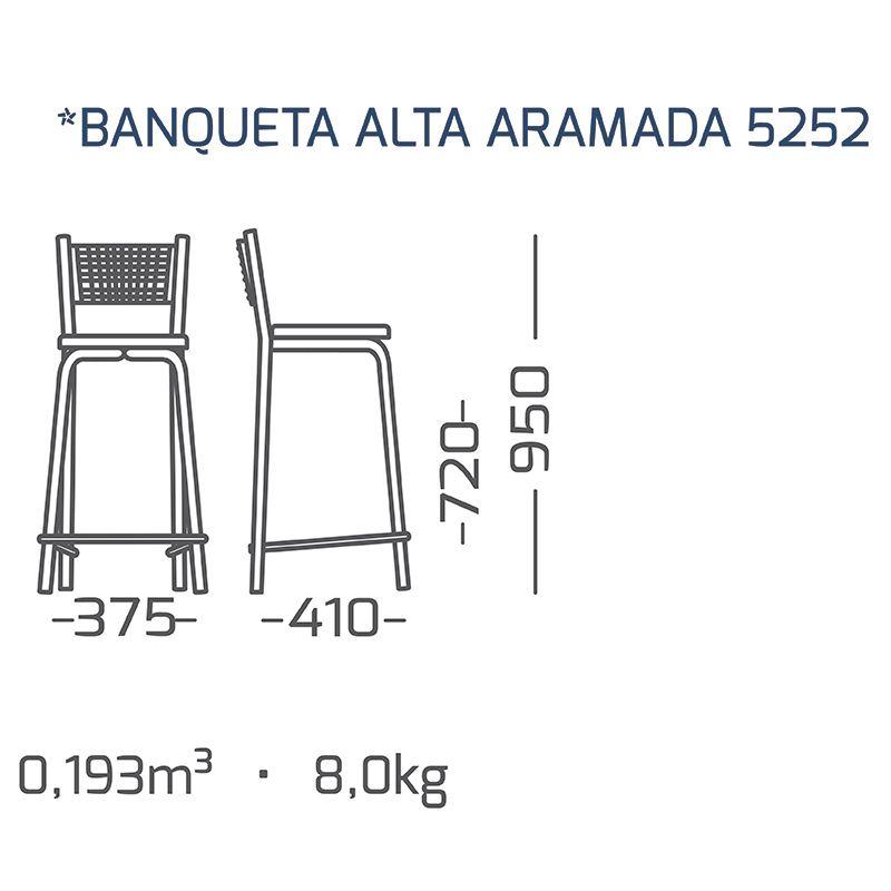 02 Banquetas Alta com Encosto Aramado Modelo 525