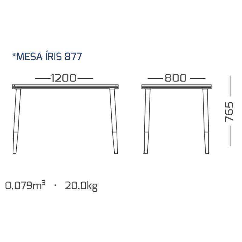Mesa de jantar 120 x 80 cm 6 lugares modelo 877