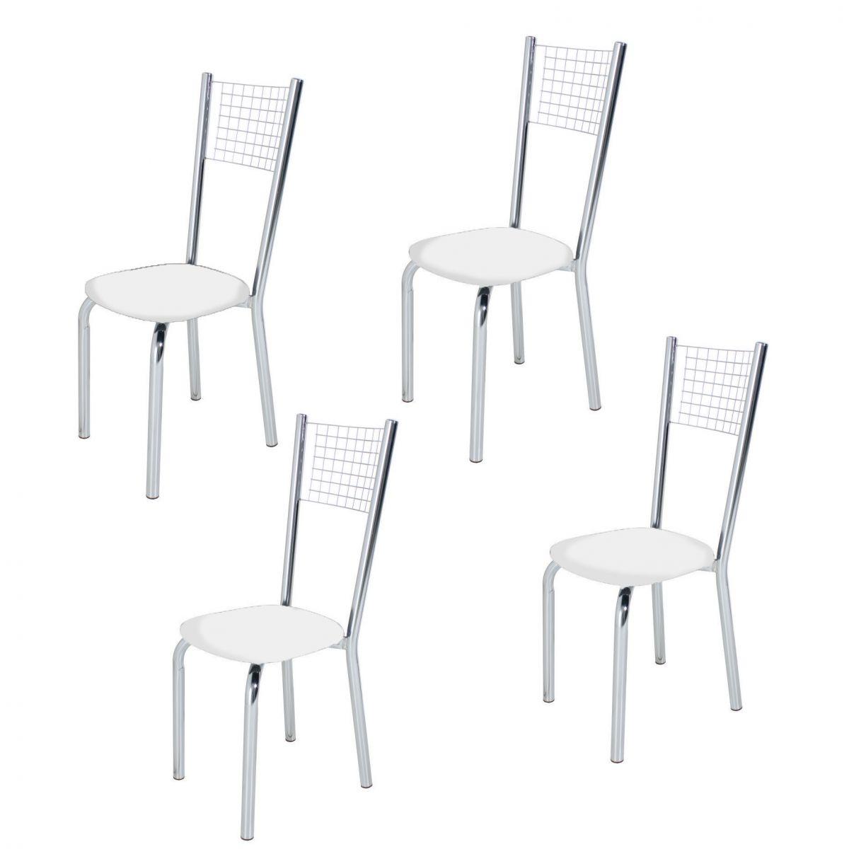 Conj. p/ Sala de Jantar com Mesa 120 cm e 04 Cadeiras Cromadas Modelo 553