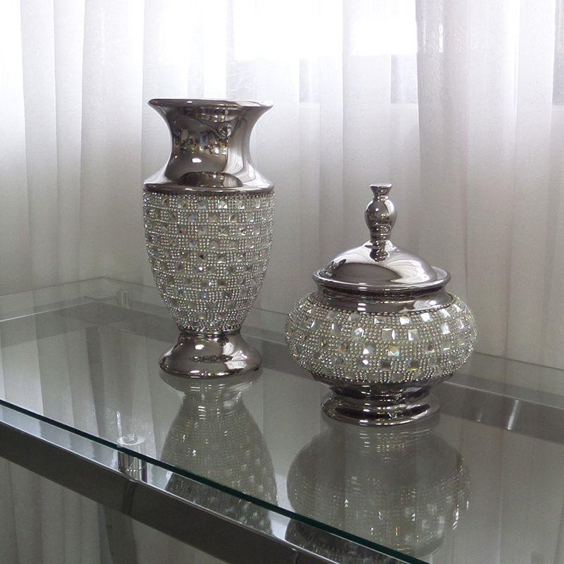 Vaso com Detalhes em Espelhos e Strass Mod.606