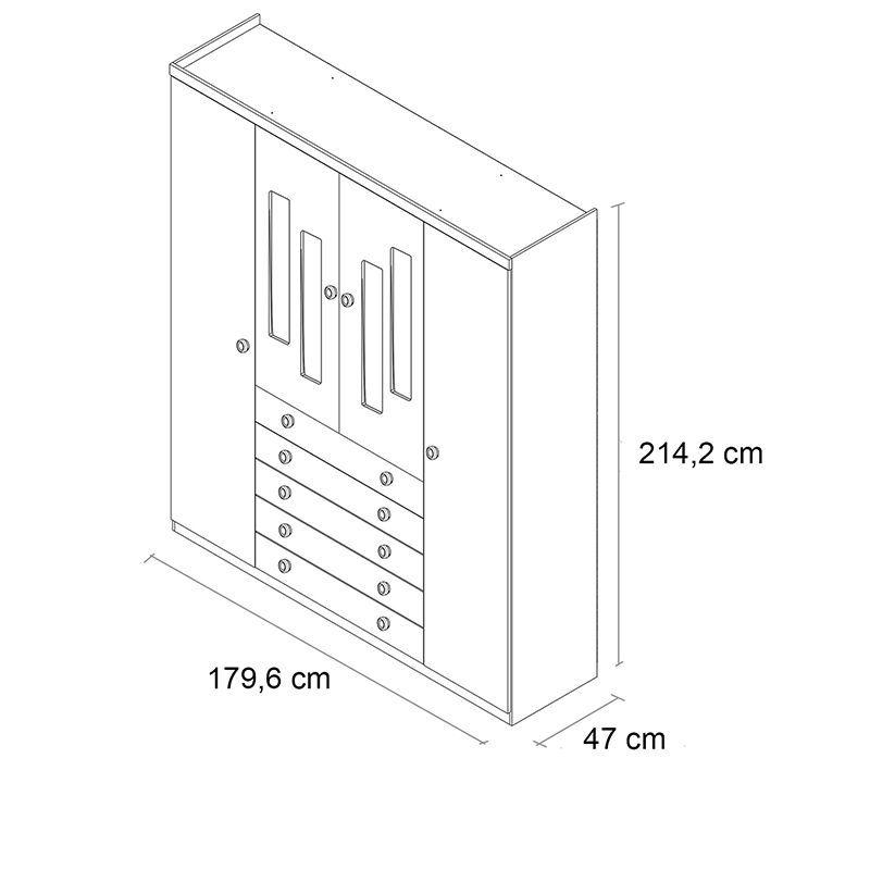 Guarda-Roupa Infantil 04 portas Evolution Branco
