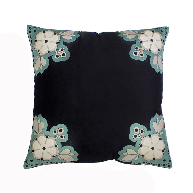Almofada Decorativa Canteiro Floral Preto e Pistache 45x45 Cm