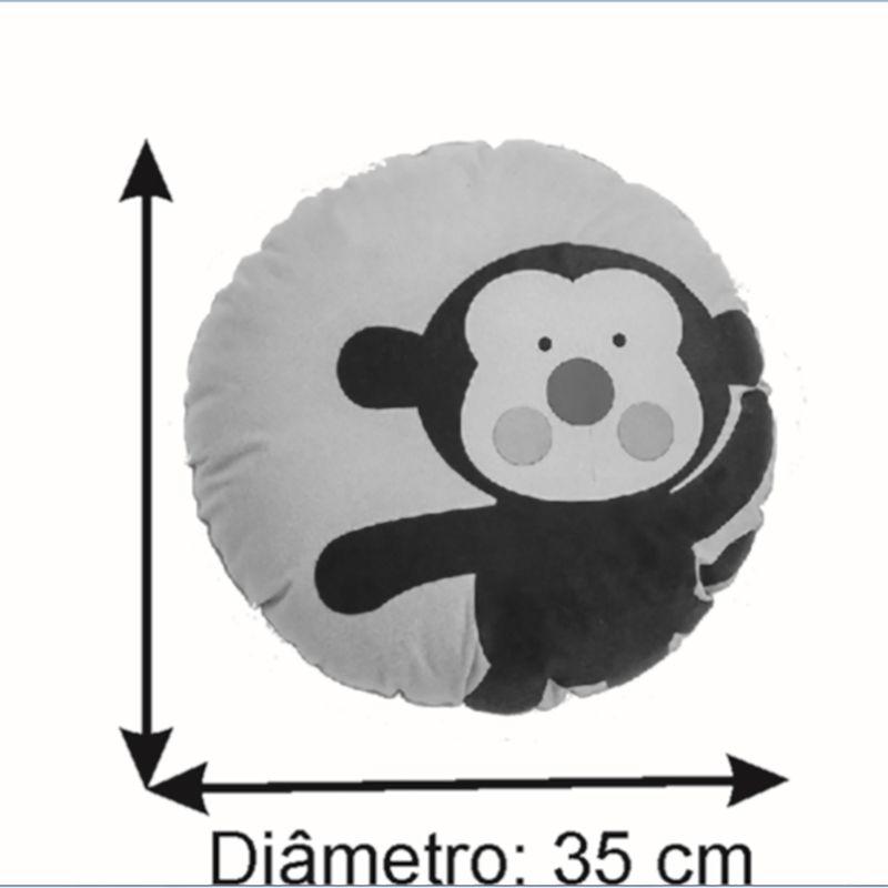Almofada Infantil Redonda 35 Cm Baby Macaquinho