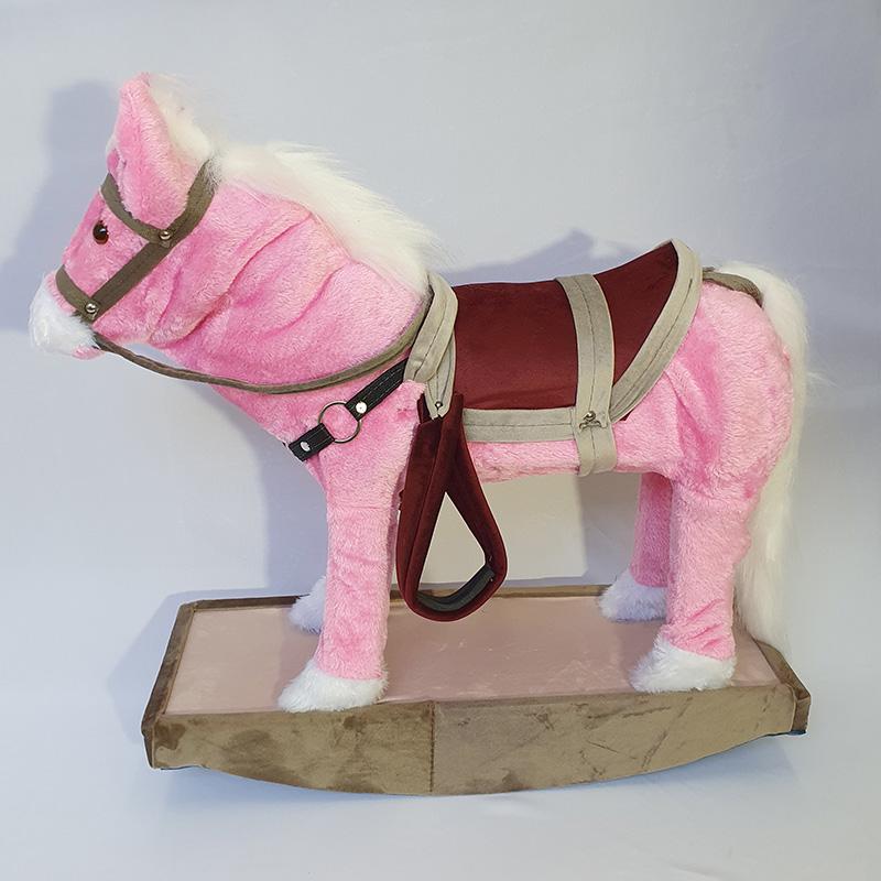 Cavalinho de Balanço Para Crianças de Madeira e Pelúcia Rosa