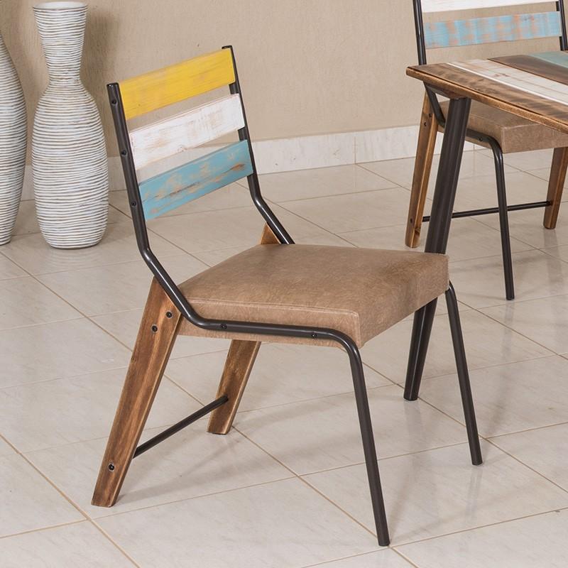 Conj. p/ s. jantar com mesa de madeira estilo demolição colorida 90 x 90 cm e 04 cadeiras 823