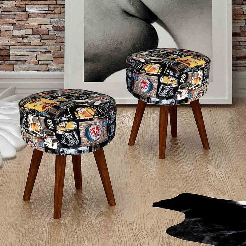 Conjunto 02 Puffs Decorativos Estampados Redondos com Pés em Madeira