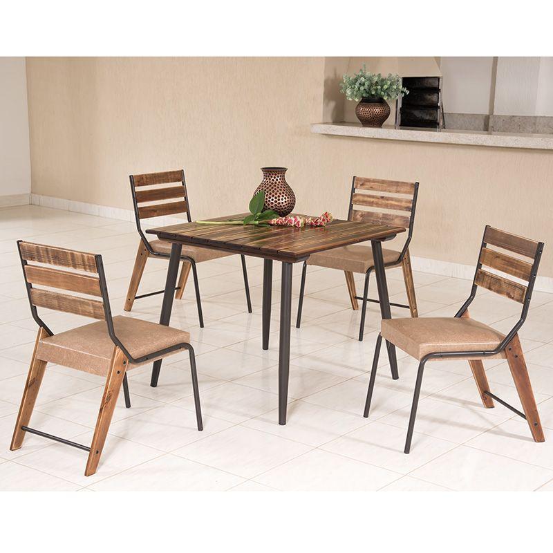 Conjunto 04 Cadeiras de Madeira Estilo Demolição 823