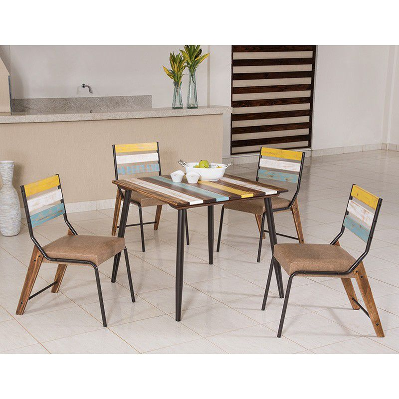 Conjunto 04 Cadeiras de Madeira Estilo Demolição Color 823