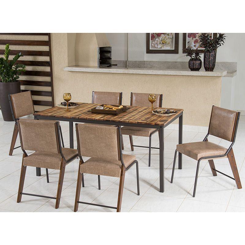 Conjunto 06 Cadeiras Estofada Gaia Café Modelo 822