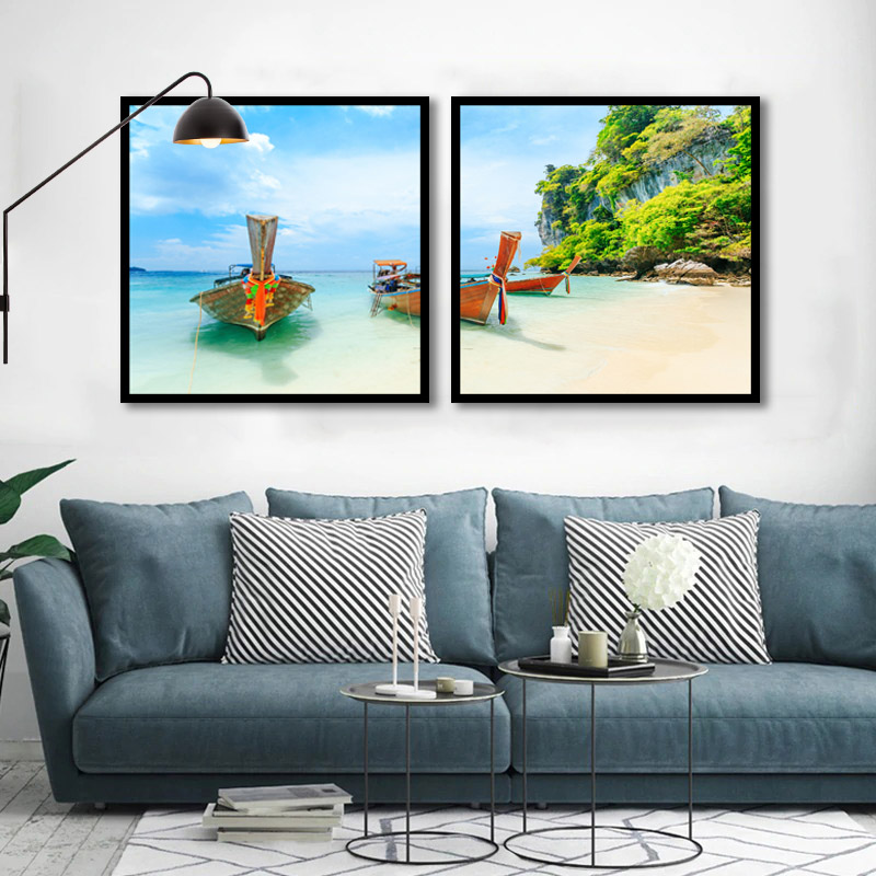 Conjunto 2 Quadros Decorativos Barcos Na Praia