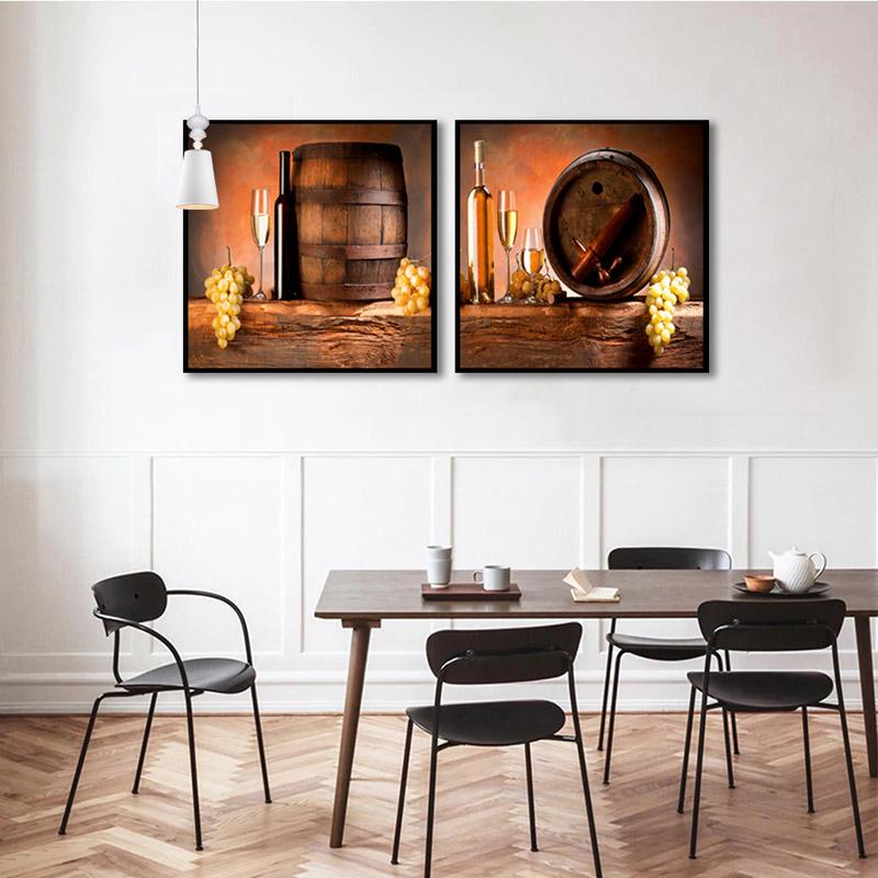 Conjunto 2 Quadros Decorativos Barril De Vinhos
