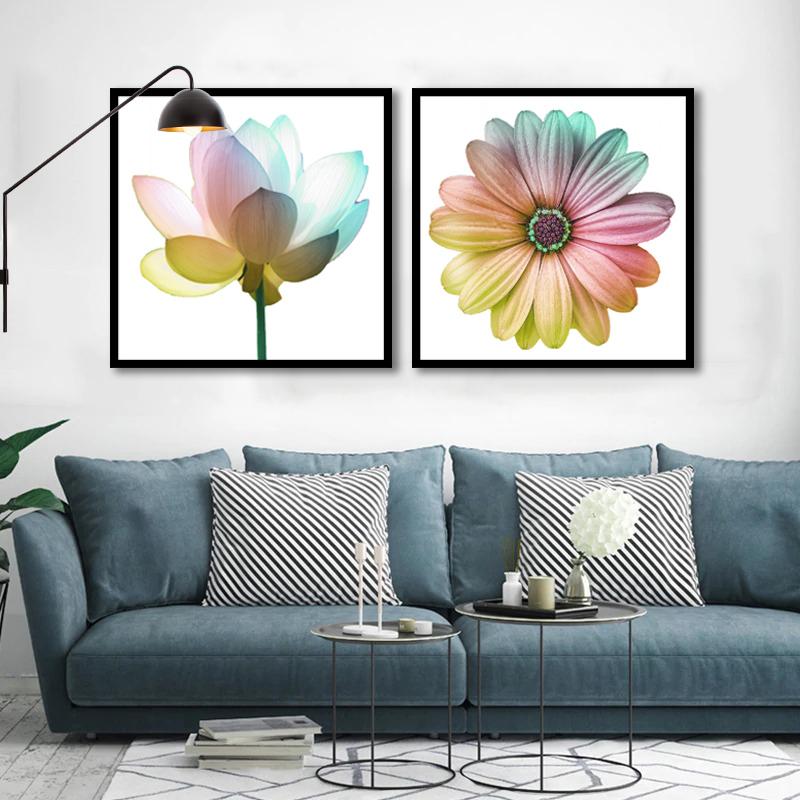 Conjunto 2 Quadros Decorativos Flores Coloridas